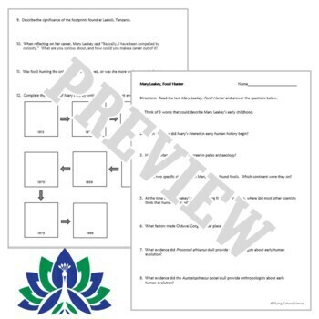 Evidence of Evolution Fossils Worksheet and Text Mary ...