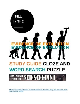 Evidence of Evolution Study Guide Cloze and Word Search Puzzle