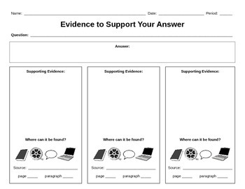 Evidence to Support Your Answer