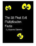 Evil 28 Most Difficult Multiplication Facts Packet