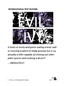 Evil Ivy -- A FREE informational text assignment