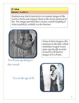 Evita Movie Quizzes / Evita Movie Tests -- Three Separate Activities