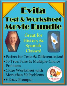 Evita Movie Bundle -- Evita Worksheets AND Evita Tests / Quizzes
