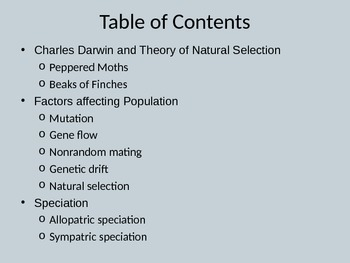 Natural Selection, Evolution, and Speciation PowerPoint