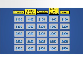 Evolution: A jeopardy-Style Review Game