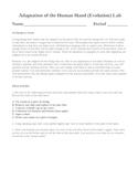 Evolution  Adaptation of the Human Hand Laboratory Lesson Plan
