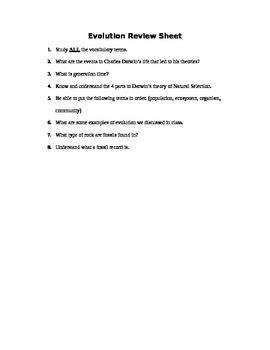 Evolution Assessment (Quiz)