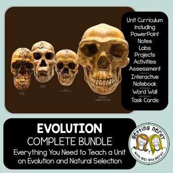 Evolution Complete Bundle - PowerPoint Unit, INB, Task Cards, Word Wall