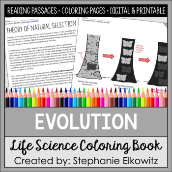 Evolution Coloring and Reading Unit by Stephanie Elkowitz | TpT