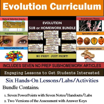 Evolution Curriculum - Six Lessons & Seven Literacy Articles for Sub or Homework