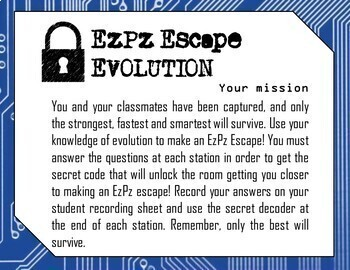 Evolution Science Escape Room- Distance Learning