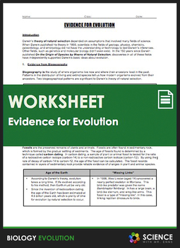 Evolution - Evidence for Evolution