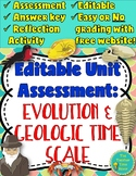 Evolution & Geologic Time Scale Unit Editable Assessment and Reflection Activity