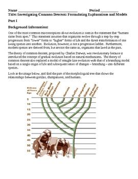 Evolution Investigating Common Descent Laboratory Lesson Plan