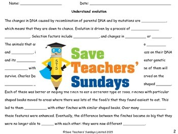 Evolution Lesson plan and Worksheets