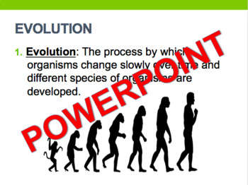 Evolution Living Environment Regents Review- One Page Wonder + Powerpoint