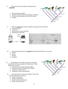 Evolution Multiple Choice and Short Answer Test