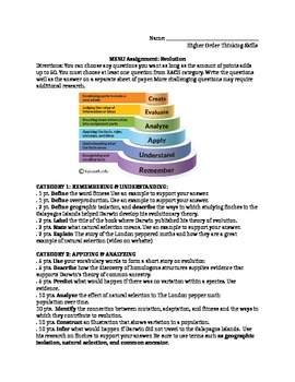 Evolution, Natural Selection, Common Ancestor Menu (Bloom's Taxonomy) Assignment