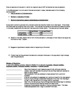 Evolution, Natural Selection, and Classification Worksheet
