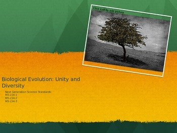 Evolution One to One 13 Day Unit: Covers NCSS Standards MS-LS4-1, 2 and 3