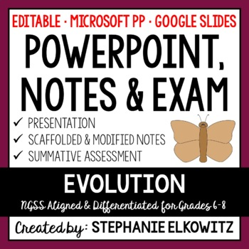 Evolution and Natural Selection PowerPoint, Notes & Exam