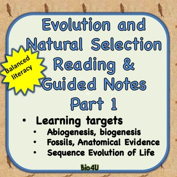 Evolution and Natural Selection Reading and Guided Notes, Part 1