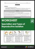 Worksheet - Evolution - Speciation & Reproductive Isolatio