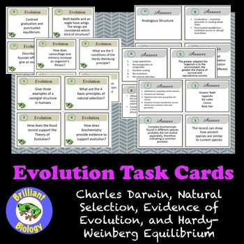 Evolution Task Cards: Darwin, Evidence & Mechanisms, and Hardy-Weinberg
