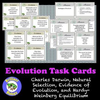 Evolution Task Cards: Darwin, Evidence & Mechanisms, and H