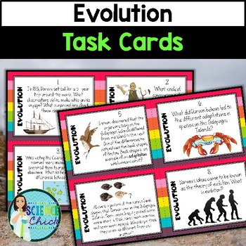 Evolution Task Cards - with or without QR codes