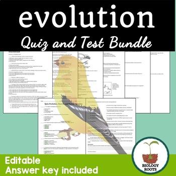 Evolution Test and Quiz Bundle