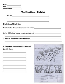 Evolution - The Evolution of Evolution Worksheet