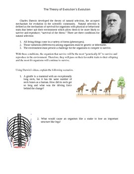 Evolution: Thinking Like Lamarck and Darwin