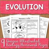 Evolution Unit Homework Page Bundle
