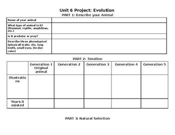 Evolution Unit Project Student Handout