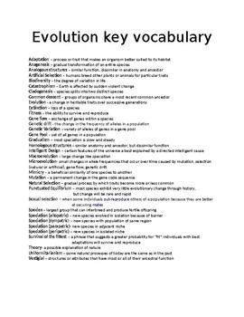 Evolution Vocabulary Definitions