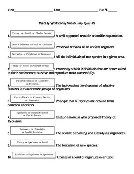 Evolution Vocabulary Terms/Quiz