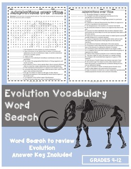 Evolution Vocabulary Word Search