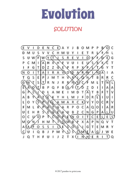 Evolution Word Search Puzzle