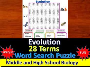 Evolution -  a fun & unique Word Search Puzzle (Grades 7-12)
