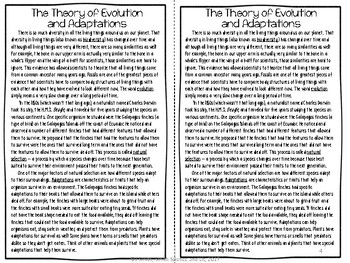 Evolution and Adaptations Reading Comprehension Interactive Notebook