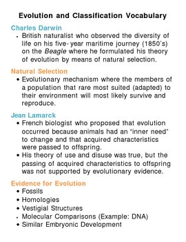Evolution and Classification Unit Vocabulary Lesson Plan by Lisa ...