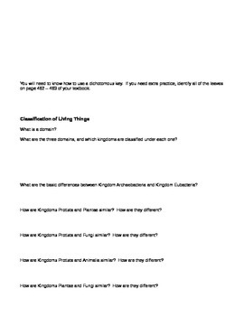 Evolution and Classification Worksheet