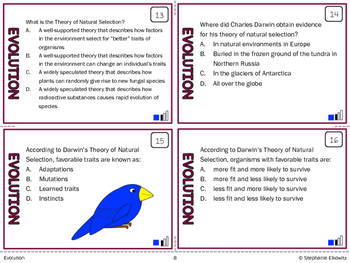 Evolution and Natural Selection Task Cards (Differentiated and Tiered)