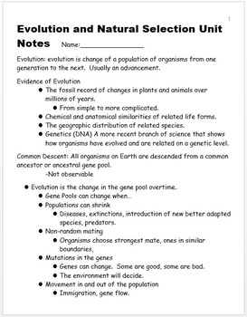 Evolution and Natural Selection Unit Notes, Standards, and Curriculum