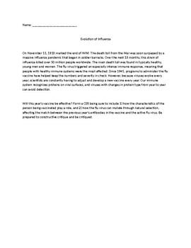 Evolution of Influenza Claim, Evidence, Reasoning