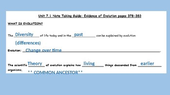Evolution of Species PPT Answer Key Guided Notes