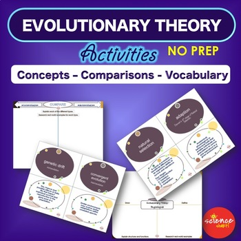 Evolutionary Theory: Vocabulary Activities with Def. Science Study Guide NO PREP