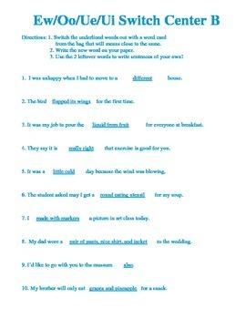 Ew, Oo, Ue, Ui Sentence Completion Centers Reading Street Grade 2 Helen Keller