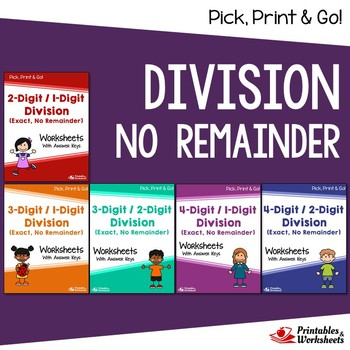 Exact Division (No Remainders) Worksheets With Answer Keys